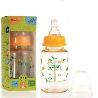 Bình sữa PES cổ thường 120ml núm ti silicon chống sặc UPASS UP02401CC