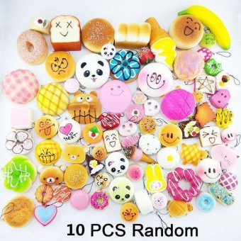 10Pcs Jumbo Medium Mini Random Squishy Panda/Bread/Cake/Buns/Donut Phone Straps Multicolor - intl
