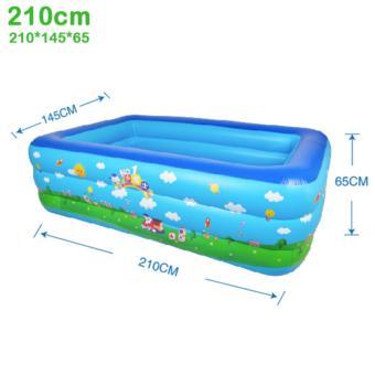 Bể bơi phao 3 tầng cho bé size to 210x145x65cm - Mẫu mới 2017 (Xanh dương)