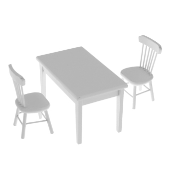 BolehDeals 1:12 Dolls House Miniature Furniture Wooden Dining Table Chair Set White - Intl