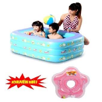 Bể bơi phao 3 tầng BeBe mart TH10 tặng kèm phao đỡ cổ cho bé(xanh dương)