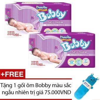 Bộ 2 tã giấy Bobby Fresh siêu thấm XXL36 + Tặng 1 gối ôm Bobby