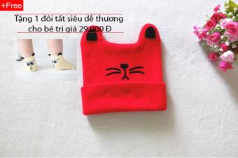 Mũ len giữ ấm thời trang hình mèo cho bé (Đỏ) + Tặng 1 đôi tất siêu dễ thương cho bé
