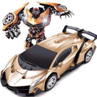 Siêu xe thể thao biến hình siêu nhân 2in1 điều khiển từ xa (Vàng đồng)