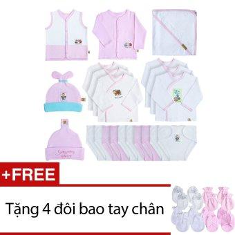 Bộ phụ kiện đầy đủ cho bé gái sơ sinh VƯỜN XUÂN + Tặng 2 đôi bao tay chân trắng và 2 đôi bao tay chân màu (hồng)