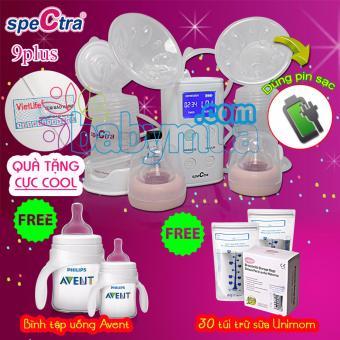 Máy hút sữa điện đôi Spectra 9 Plus (Trắng) + Tặng bình tập uống và hộp 30 túi trữ sữa
