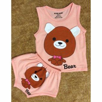 Bộ quần áo trẻ em in hình con gấu BTE021 (Màu hồng)