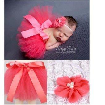 Bộ băng đô và váy chụp ảnh cho bé (Cam hồng)