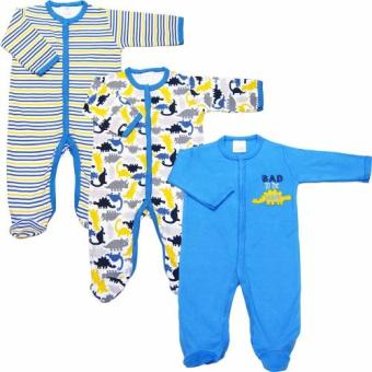 Bộ 3 áo liền quần liền vớ bé trai từ 3 đến 12 tháng Baby Gear (Màu sắc ngẫu nhiên)