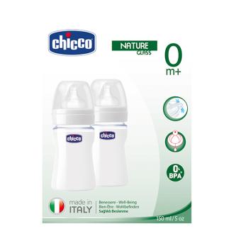 Bộ 2 bình sữa thủy tinh núm silicon 150ml Chicco