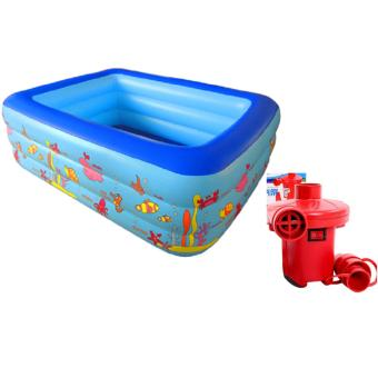 Bể Bơi Phao HCN 3 Tầng 1m3 Cho Bé Size 135x97x56cm + TẶNG KÈM BƠM ĐIỆN