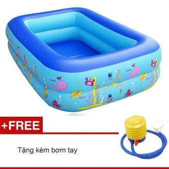 Bể bơi phao 2 tầng cho bé 120x90x35c Xanh( tặng kèm bơm tay)