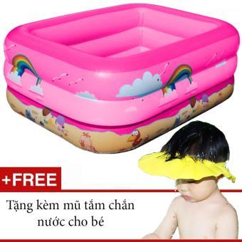 Bể bơi phao 3 tầng GocgiadinhVN- Hồng (Tặng kèm nón tắm chắn nước cho bé)