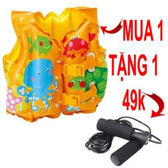 Áo phao bơi trẻ em Intex tặng kèm dây nhảy thể dục cao cấp màu đen trị giá 49k