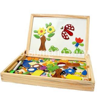 Bộ đồ chơi xếp hình bằng gỗ gắn nam châm tích hợp bảng vẽ