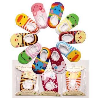 Bộ 5 đôi tất hoạt hình chống trơn tập đi cho bé từ 0-15 tháng