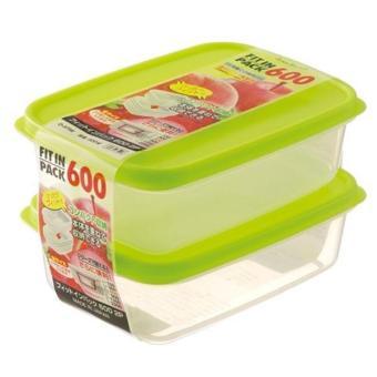 Set 2 Hộp trữ thức ăn cho Bé Sanada Seiko Japan nắp xanh 600ml