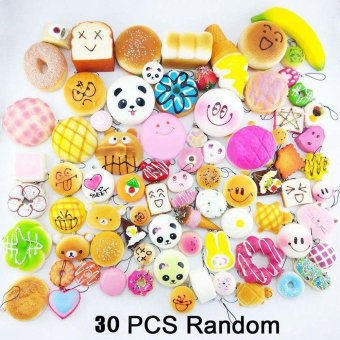 30Pcs Jumbo Medium Mini Random Squishy Soft Panda/Bread/Cake/Buns Phone Straps Multicolor - intl