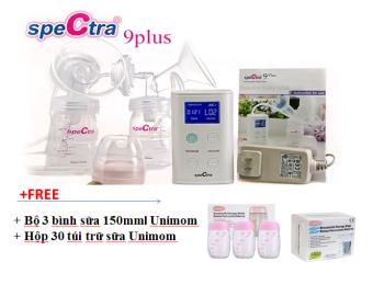 Máy hút sữa Spectra 9plus + tặng bộ 3 bình sữa 150mml Unimom + 30 túi trữ sữa Unimom