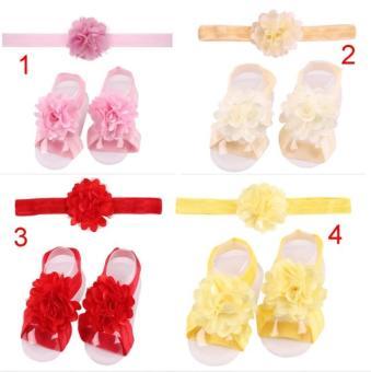 Bộ 2 bộ nơ chân và băng đô handmade cho bé Anthome (số 1 và 4)