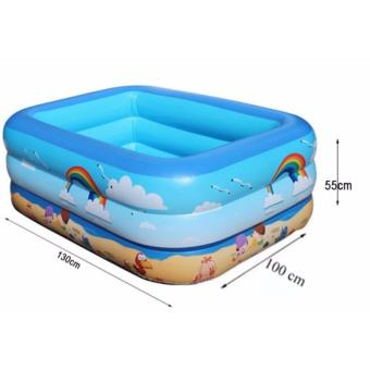 Bồn tắm cho trẻ em - Bể bơi phao 3 tầng chữ nhật 130X90X50 - Chất liệu cao cấp, Bền, Đẹp - TẶNG BƠM BỂ BƠI.