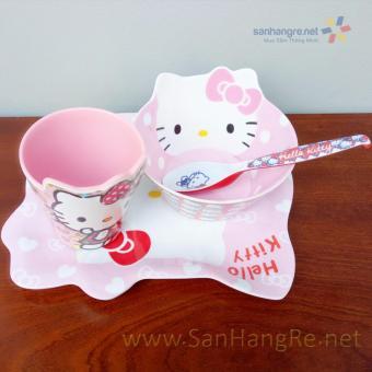 Bộ đồ dùng ăn hình Hello Kitty hồng cho bé hàng xuất Nhật 02