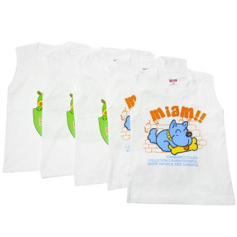 Bộ 5 áo tay lỡ bé trai Nanio AD154 (Trắng)