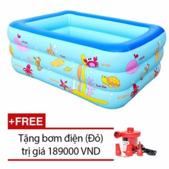 Bể bơi Summer 3 tầng cho bé loại 160cmx120cmx60cm + Tặng bơm điện (Xanh)