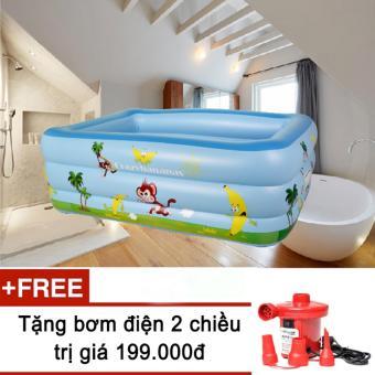 Bể bơi phao 3 tầng cho bé size to 150x110x50cm mẫu mới 2017 + Tặng bơm điện (Xanh dương)