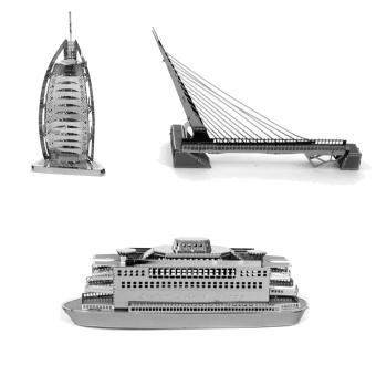 Bộ 3 xếp hình 3D kim loại Bến phà NEW YORK STATEN + Khách sạn ARAP BUJI + Cầu cổng vàng GOLDEN GATE