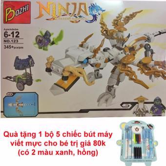Bộ xếp hình Bozhi - NINJA 345 miếng ghép + Tặng Bộ 5 bút máy viết mực cho bé