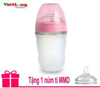 Bình sữa silicone kim cương MMD 240ml (hồng) + Tặng thêm 1 núm ti MMD