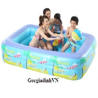 Bể bơi phao 2 tầng cho bé GocgiadinhVN(xanh dương)