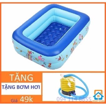 Bể bơi chữ nhật Tặng bơm bơi cho trẻ