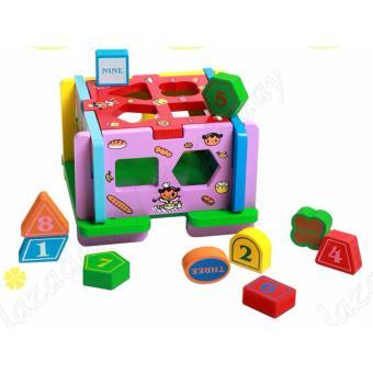 Đồ chơi gỗ tự nhiện thả hình hình khối cơ bản, số và English, đồ chơi giáo dục cho bé