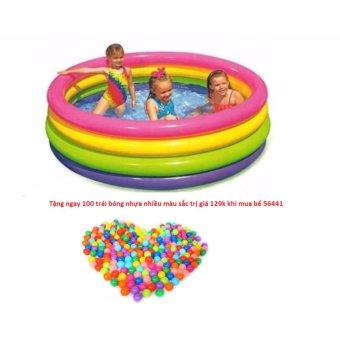 Bộ bể phao 56441 cỡ đại 168x56cm tặng kèm 100 trái bóng nhựa
