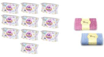 Bộ 10 gói khăn giấy ướt Merries hộp 54 miếng và 2 khăn mặt Poemy 29 x 29cm (Xanh phối tím)