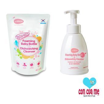 Bộ 1 chai và 1 túi thay thế nước rửa bình sữa Unimom Hàn Quốc (500mlx2)