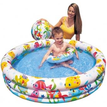 Bể bơi 3 tầng kèm bóng và phao bơi 132x28cm