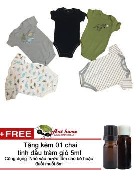 Bộ quần áo liền quần (body suite Baby Gear) cho bé trai từ 3-6 tháng (mầu sắc bất kỳ) + Tặng kèm 1 chai tinh dầu tràm gió 5ml