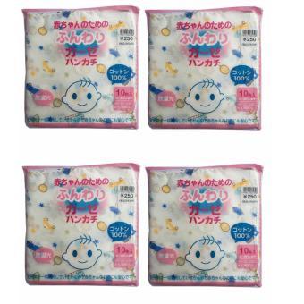 Bộ 04 Túi 10 khăn sữa 02 lớp có hình 32x32(cm)