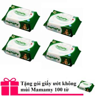 Bộ 4 gói giấy ướt không mùi Mamamy có nắp (100 tờ) + Tặng 1 gói giấy ướt Mamamy