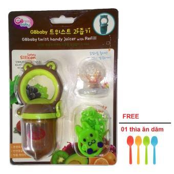 Bộ Túi nhai tập ăn chống hóc GB Baby Hàn Quốc 3 đầu kèm dây đeo (tặng 1 thìa ăn dặm)
