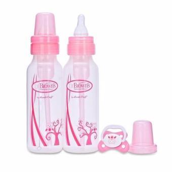 Bộ 2 bình sữa Dr. Brown cổ thường Owl 240ml và 1 ty ngậm 0-6 tháng nhựa PP