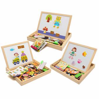 Bộ đồ chơi xếp hình bằng gỗ gắn nam châm cho bé