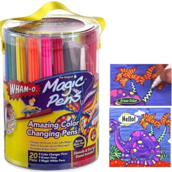 LALANG 20Pcs Kids Magic Pens Amazing Color Changing Pens Stencils Blow Pen Set Fun Art (Multicolor) - intl