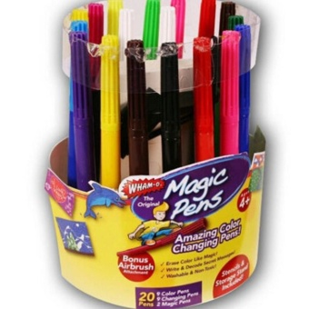 LALANG 20Pcs Kids Magic Pens Amazing Color Changing Pens Stencils Blow Pen Set Fun Art (Multicolor) - intl