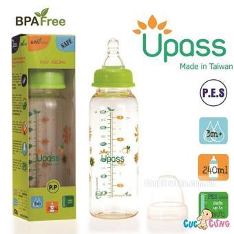 Bình sữa UPASS cổ thường 240ml PES (Xanh)