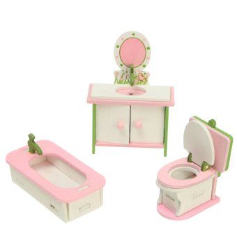 Vintage Wooden Furniture Dolls House Family Miniatures 4 Room Set For Kids Toys Bathroom - intl