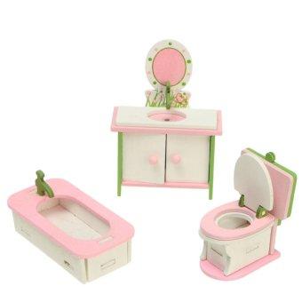 Vintage Wooden Furniture Dolls House Family Miniatures 4 Room Set For Kids Toys Bathroom - intl